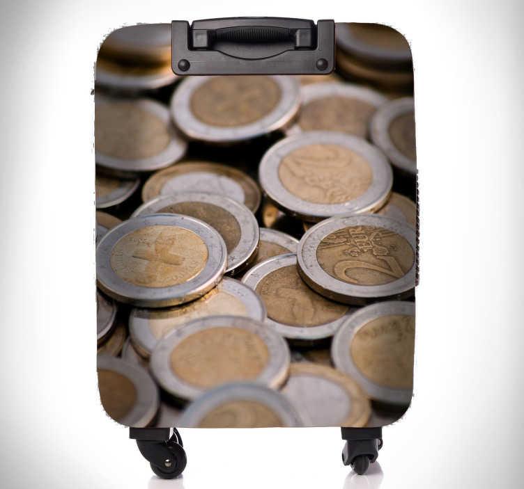 TenStickers. Naklejka na bagaż Pieniądze w walizce. Niezwykłe naklejki na walizki 3D z ilustracją pieniędzy. Spraw, że Twoja walizka będzie wyróżniać się z tłumu. Dostępna bezpłatna dostawa.