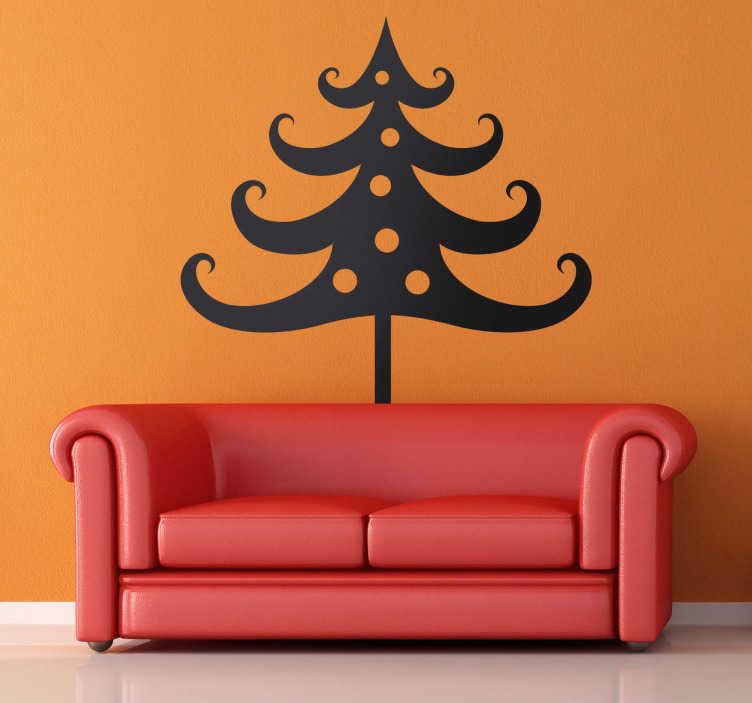 TENSTICKERS. 単色のクリスマスツリーステッカー. 長い枝とつまらないものを備えたクリスマスツリーのこのシンプルな単色デザインは、ミニマリストの方法で装飾したい人に理想的です。