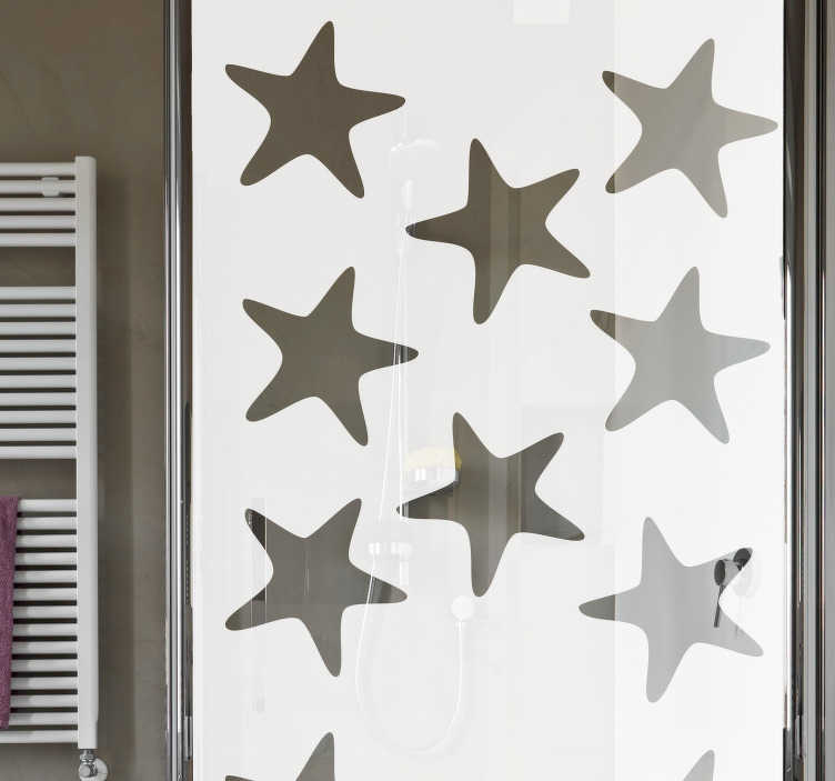 TenStickers. Sea stars shower sticker. Sea stars shower screen sticker for bathroom decoration. Choose the best suitable size for a desired space. Easy to apply.