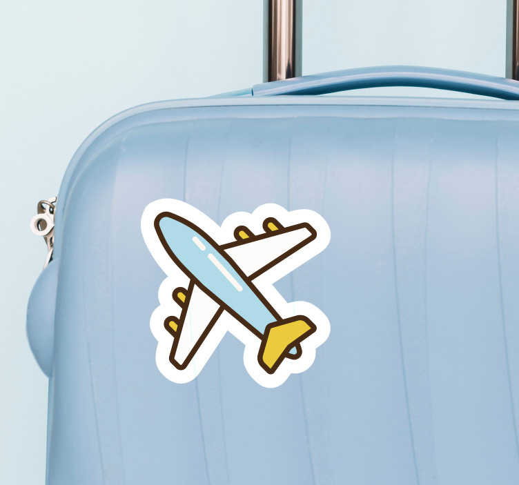 TenStickers. Suitcase plane decal. Travel location theme decorative vinyl sticker with an  air plane design to apply on suitcase of  personal accessories. Easy to apply.