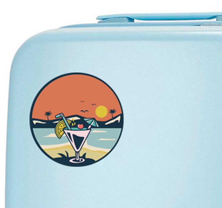 TenStickers. Naklejka na walizkę Wakacyjny pejzaż. Odlotowe naklejki na walizki z wakacyjnym obrazkiem. Spraw, że Twoja walizka będzie wyróżniać się z tłumu. Dostępna bezpłatna dostawa.