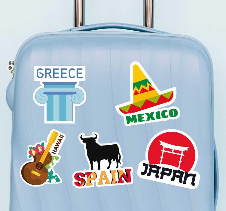 TenStickers. Naklejka na bagaż Słynne miejsca na walizkę. Odlotowe naklejki na walizki jaki naklejki przedstawiające znane miejsca. Spraw, że Twoja walizka będzie wyróżniać się z tłumu.