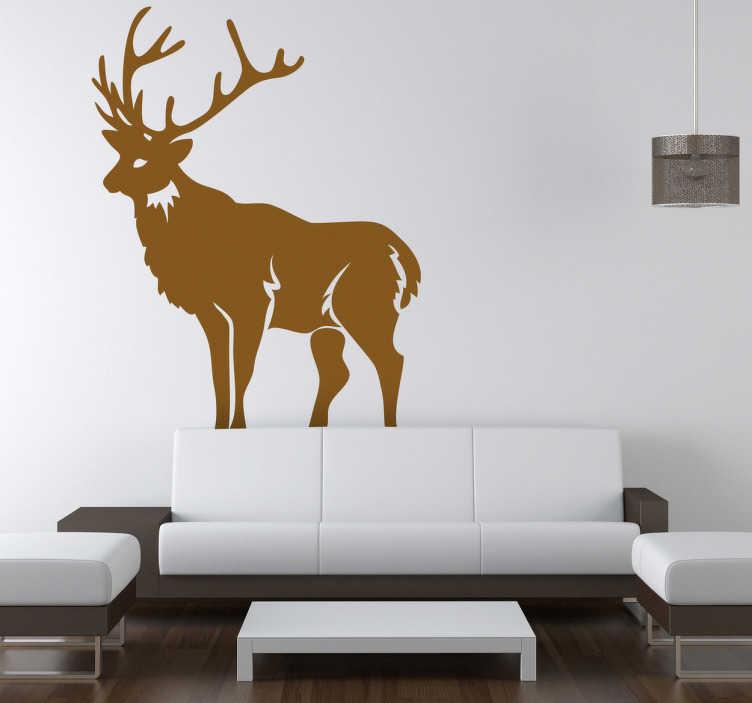 TenStickers. Autocollant renne Noël. Stickers représentant un renne du Père Noël.Adhésif applicable aussi bien dans un salon ou sur une vitrine de magasin à l'approche de la fête de Noël.