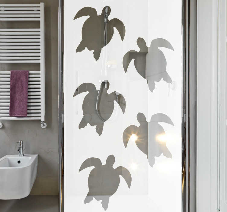 TenStickers. Sea tortoise shower sticker. Marine tortoise prints shower screen sticker to decorate the bathroom shower door. Easy to apply with self adhesive. Buy it in the best suitable size.
