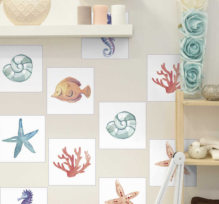 TenStickers. Marine animals tile transfer. Decorative animal tile decal with the design prints of marine lives like star fish, coral, snail and more. Buy it in the desirable pack set.