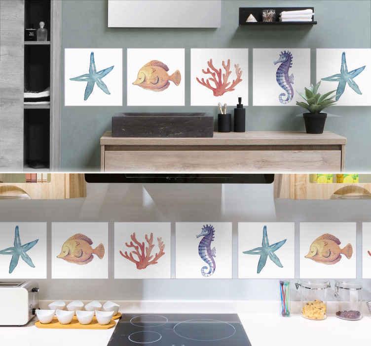 TenStickers. Muurstickers dieren zeedieren. Geef jouw badkamer een frisse look met deze tegelsticker van verschillende dieren. Deze sticker is gemaakt met een unieke aquarele look.
