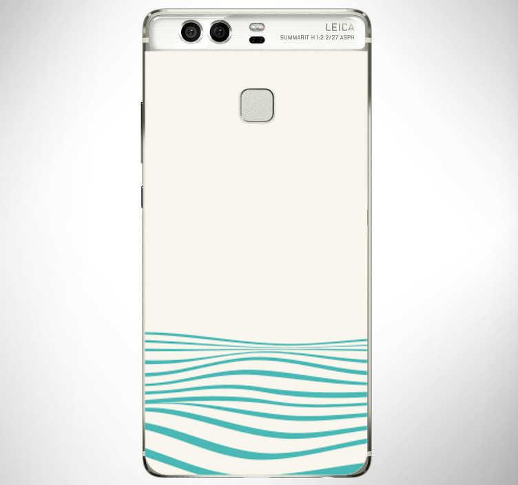 TenStickers. Abstraktne valove (huawei) kože. Okrasne vinilne nalepke z zasnovo abstraktnih valov za telefon huawei. Kupite v stavi primerne velikosti. Enostaven za uporabo.
