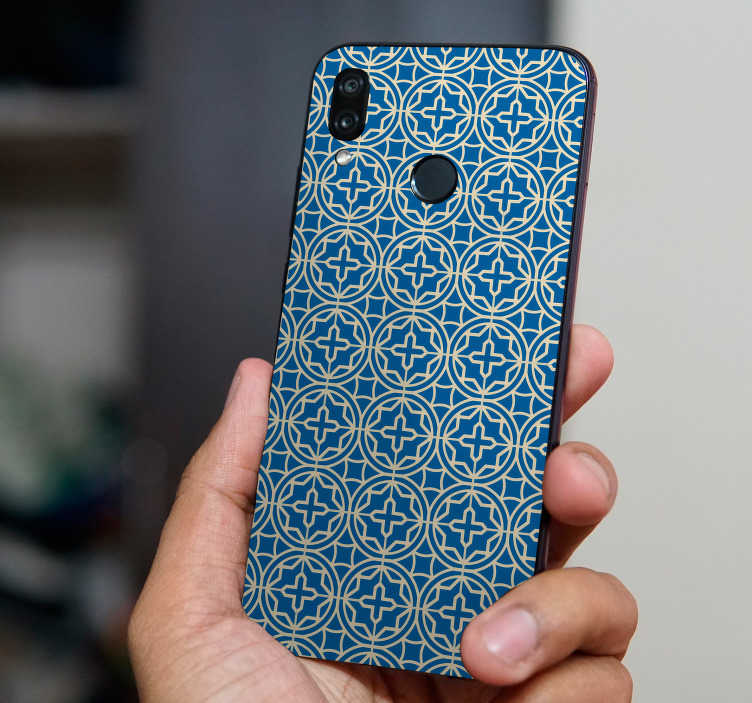TenStickers. Blue tiles (huawei) stikcer. Blue tiles vinyl hauwei sticker to decorate the surface of the phone. Buy it in the best suitable size. Easy to apply and self adhesive.