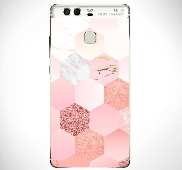 TenStickers. Rose colour(huawei)skin. Rose colour geometric pattern huawei decal to decorate the back surface in full. Choose it in the best size option. Easy to apply.