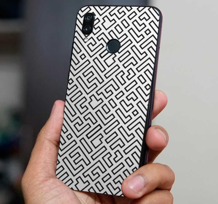 TenStickers. Sticker Huawei Abstrait Labyrinthe. Cet adhésif abstrait spécialement désigné pour le dos de votre Huawei représente un labyrinthe en noir et blanc, pour une touche inédite !