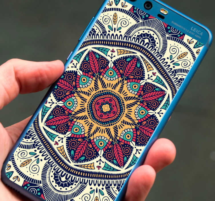 TenStickers. Mandala Huawei Phone Sticker. Decorate your phone with this fantastic Huawei sticker, depicting the absolutely glorious and classic pattern of a Mandala!