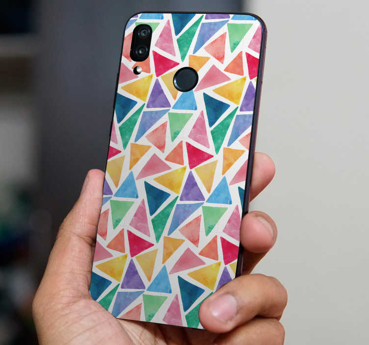 TenStickers. Watercolour mosaic (huawei) decal. Buy our beautiful watercolor geometric form huawei sticker to decorate a phone . Choose the best suitable size. Easy to apply.