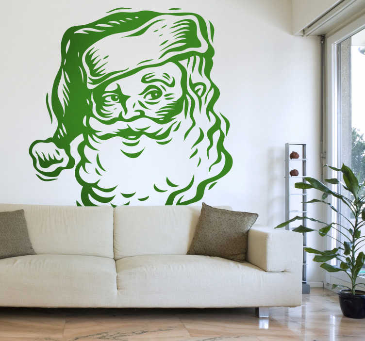 TenStickers. Sticker portrait Père Noël dessin. Stickers représentant le portrait du Père Noël.Adhésif applicable sur une vitrine de magasin à l'approche de la fête de Noël.