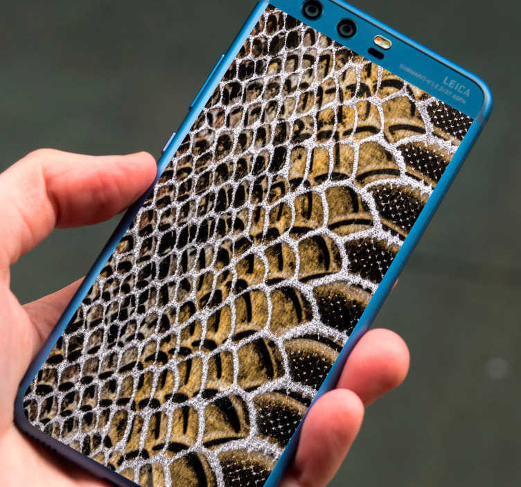 TenStickers. Snake Texture Huawei Sticker. Pay tribute to the magic of snakes with this absolutely fantastic Huawei sticker depicting snake skin! Extremely long-lasting material.