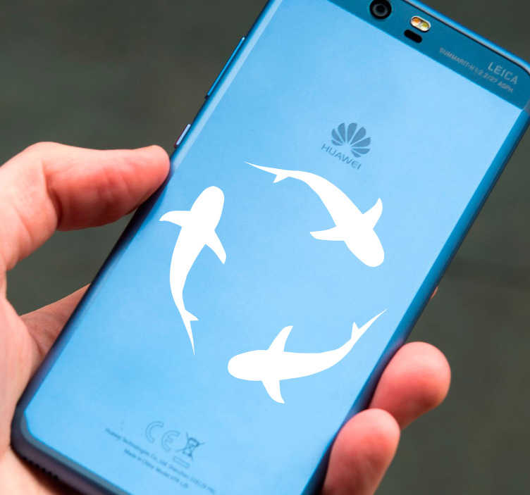 TenStickers. Sharks Huawei Phone Sticker. Add sharks to your Huawei with this fantastic phone sticker! Just one of our many decorative stickers for smartphones. Choose your size.