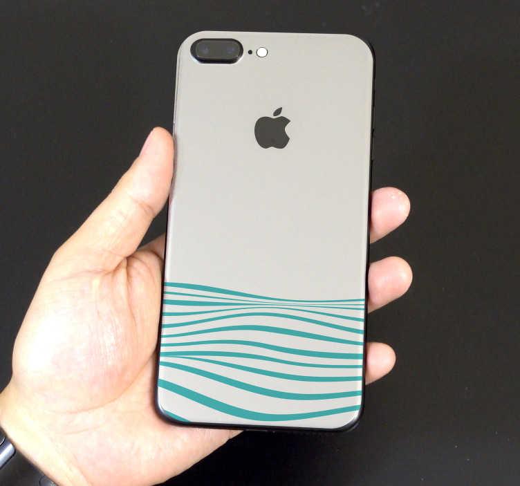 TenVinilo. Vinilo dibujo abstracto olas. Pegatina para la parte trasera de tu iPhone formada por el diseño de unas olas sobre un fondo de color crema. Descuentos para nuevos usuarios.