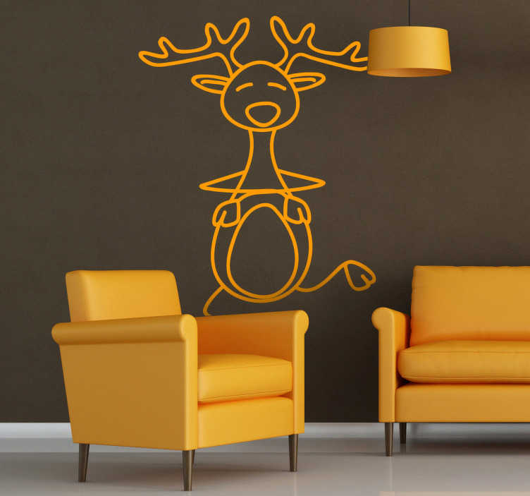 TenStickers. Dancing Deer Wall Sticker. Wall Stickers- Playful and fun illustration of a dancing deer. Christmas decorations for the home or business.