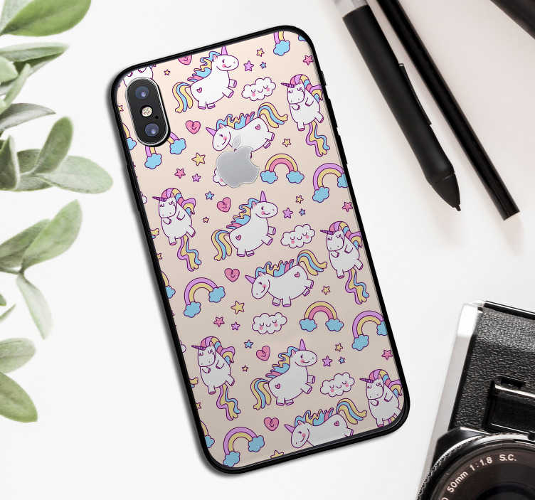 TenStickers. 一套独角兽动物iphone贴纸. 这款iphone贴纸的几款可爱的独角兽套装可以完美贴合任何类型的iphone,给它一个原创而可爱的贴花。