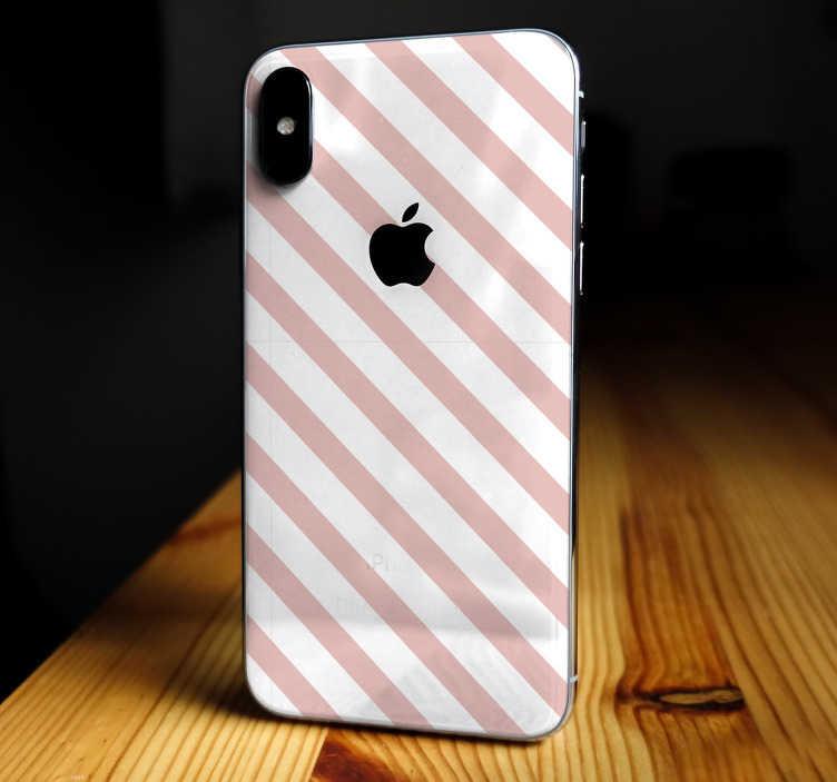 TenStickers. Etiqueta listrada do iphone da decoração dos teste padrão. Este vinil de decoração feito para iphone representa algumas linhas em duas cores diferentes, que vão de um lado para outro em seu iphone.