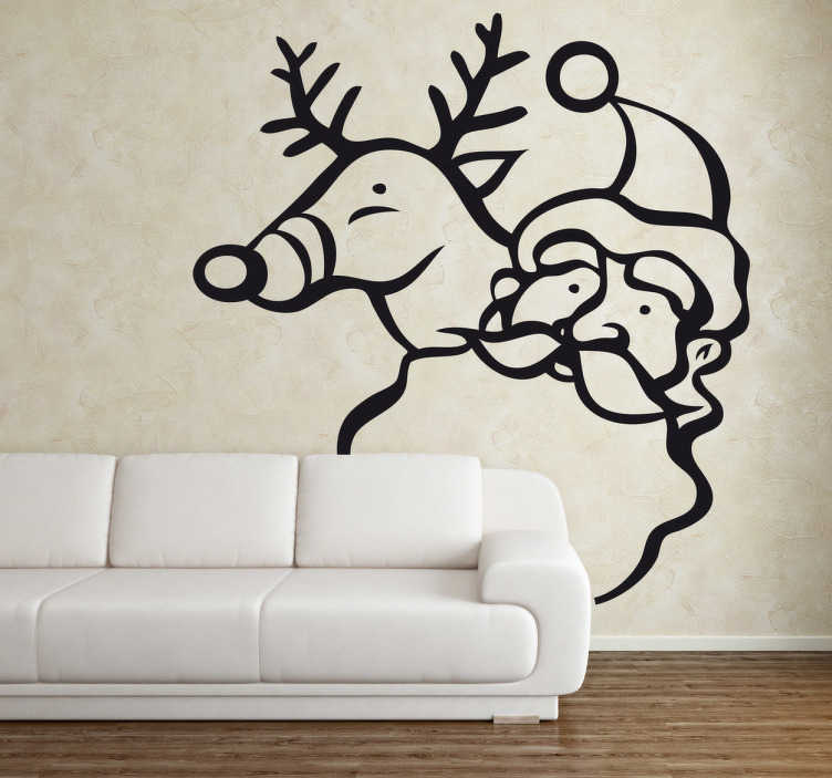 TenStickers. Santa and Rudolf Wall Sticker. Wall Stickers- Illustration of Father Christmas and Rudolf. Christmas decorations ideal for the home or business.