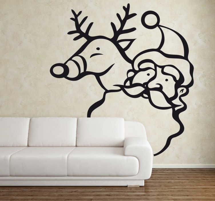 TenStickers. Sticker cerf Santa Claus. Stickers représentant le Père Noël accompagné de son renne.Adhésif applicable aussi bien dans un salon ou sur une vitrine de magasin à l'approche de la fête de Noël.