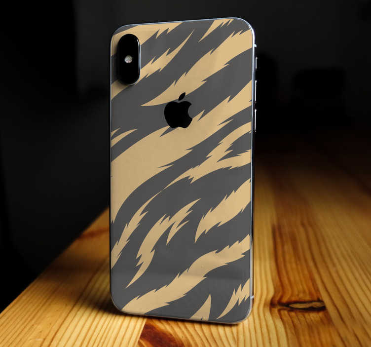 TenStickers. Tiger Texture iPhone Sticker. Decorate your iPhone with this fantastic iPhone sticker, depicting a superb tiger skin pattern! Buy now! Zero residue upon removal.