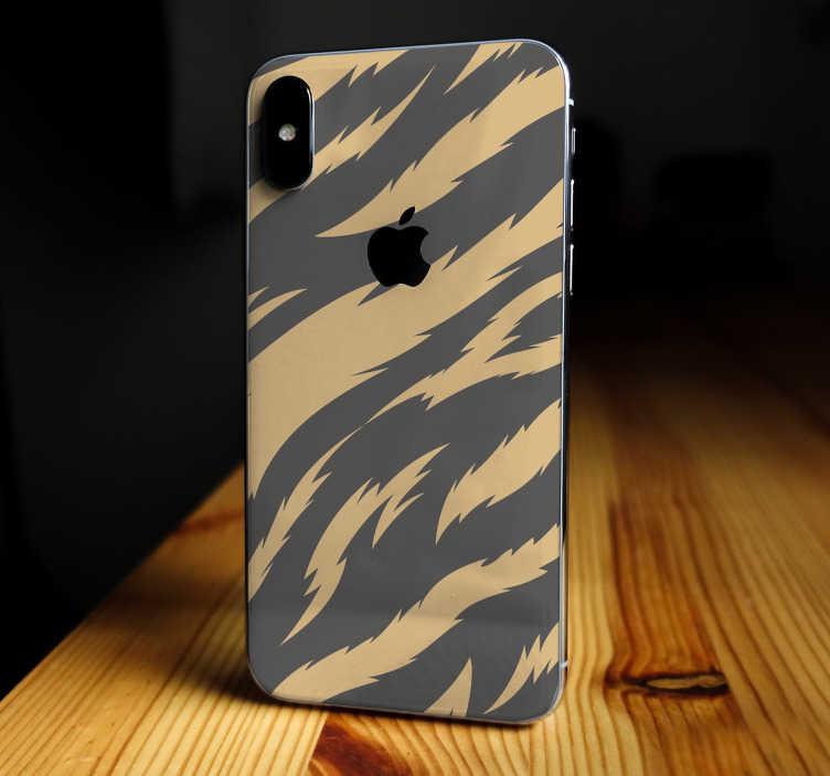 Tenstickers. Tiger textur iphone klistermärke. Denna iphone-klistermärke representerar fläckar av en tiger, i svart och orange, som passar perfekt din mobiltelefon utan att hoppa i kameran.