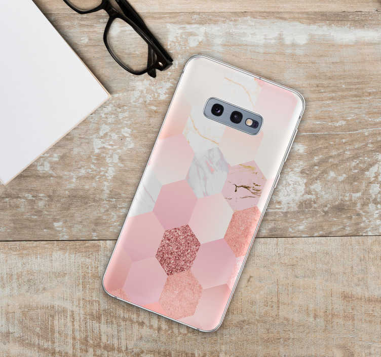 TenStickers. Pink geometric texture phone sticker. Pink stickers for Samsung and for smartphones from other manufacturers. Amaze your friends with this original pink phone decal.