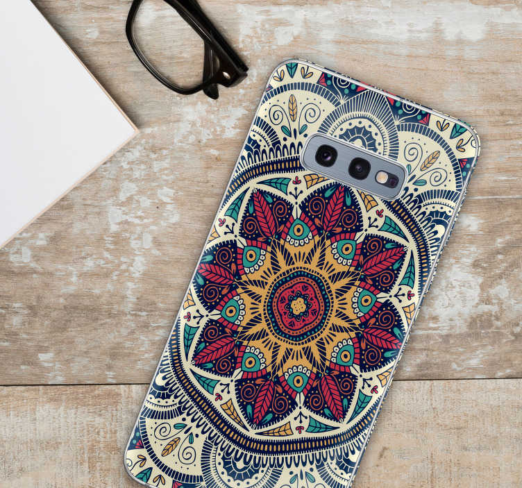 TenStickers. Mandala Samsung Phone Sticker. Looking for some unique, original and stunning decor to add to your phone? This Samsung sticker, depicting a Mandala, is perfect for that purpose!
