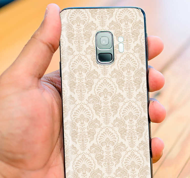 TenStickers. 클래식 패턴 빈티지 전화 스티커. Samsung 용 클래식 스티커 및 다른 제조업체의 스마트 폰 용 스티커. 독창적 인 고전적인 전화 데칼로 친구를 놀라게하십시오.