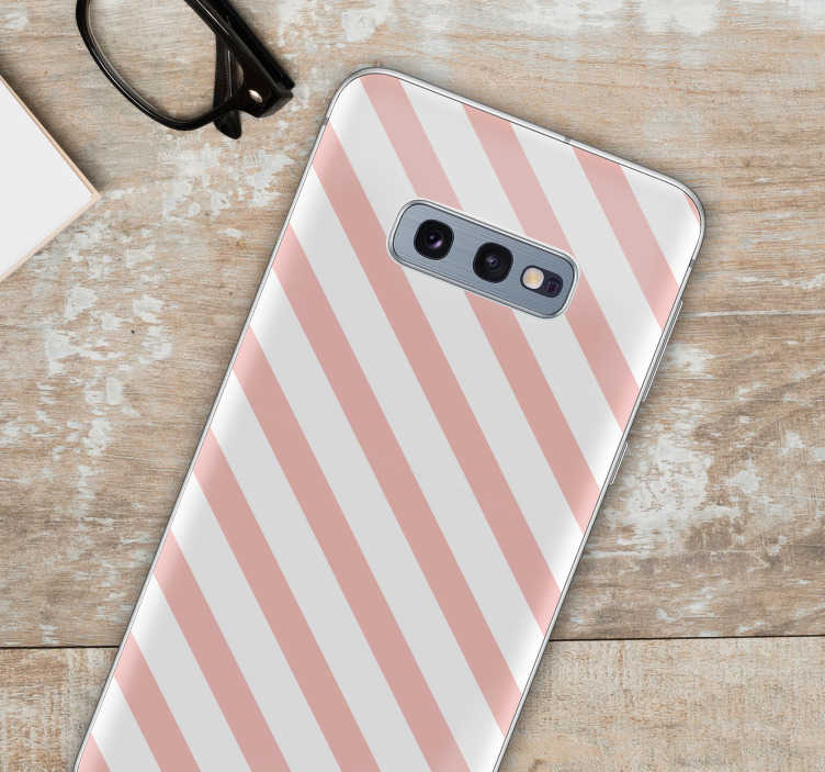 TenStickers. Striped pattern phone sticker. Striped stickers for Samsung phone and for smartphones from other manufacturers. Amaze your friends with original Nordic-style phone decals.