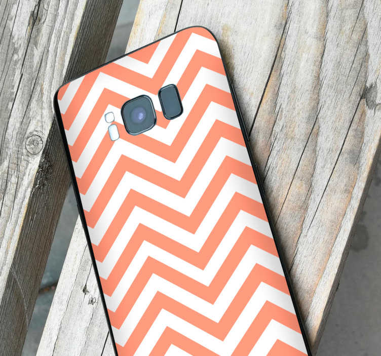 TenStickers. Zigzag decoration phone sticker. Geometric stickers for Samsung and for smartphones from other manufacturers. Surprise your friends with original zigzag phone decoration.