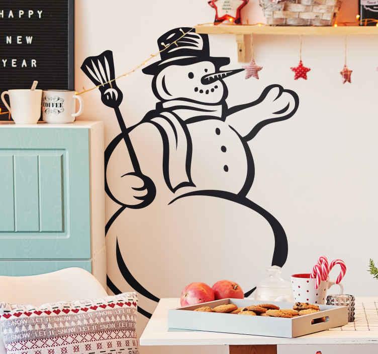 TenStickers. Sticker illustration bonhomme de neige. Stickers mural illustrant un bonhomme de neige avec un balais.Autocollant applicable aussi bien dans un salon ou sur une vitrine de magasin durant la période de Noël.