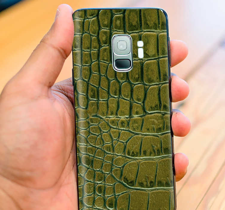 TenStickers. Crocodile Skin Samsung Sticker. Decorate your Samsung with some unique and original Crocodile themed decor, thanks to this superb Samsung sticker! Available in 50 colours.