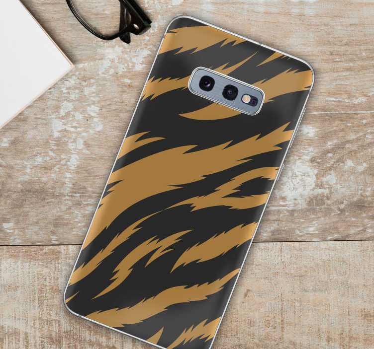 TenStickers. Tiger Texture Samsung Sticker. Add some gorgeous tiger themed phone decor to your Samsung with this fantastic cat themed phone sticker! Anti-bubble vinyl.