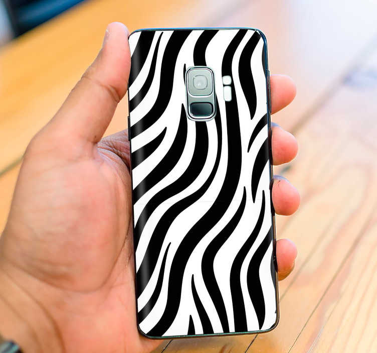 TenStickers. Zebra Skin Samsung Sticker. Looking for a unique, animal themed phone sticker to add to your Samsung? This zebra skin might just be the one for you!