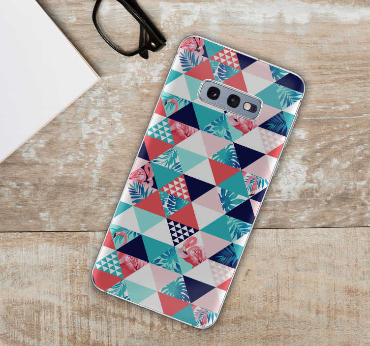 TenStickers. Tropical and geometric decoration Phone sticker. Stickers for Samsung and for smartphones from other manufacturers. Amaze your friends with original decorations of your smartphone. Tropical pattern!