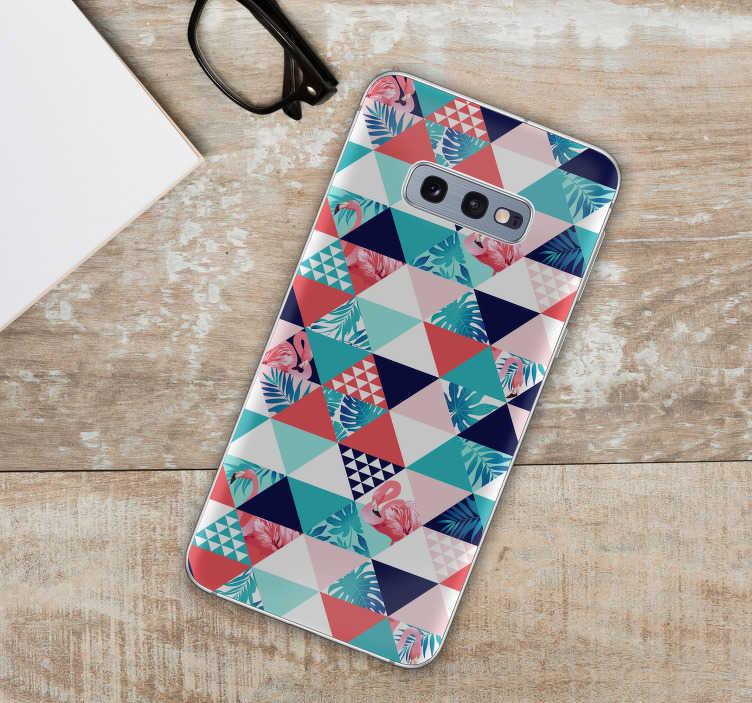 TenStickers. Sticker Samsung Tropical et floral. Ce sticker abstrait pour Samsung est composé de plusieurs motifs triangulaires, accompagnés de dessins de flamands roses et de fleurs tropicales.