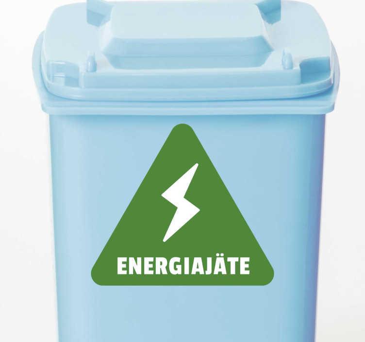 Tenstickers. Kierrätysvinyylin merkki. Kätevä kierrätysenergian merkki tarra binille tai säiliölle. Aloita uudelleenkierrätys erilaisilla kierrätysastioiden tarroilla ja kierrä energialokeron tarroja!