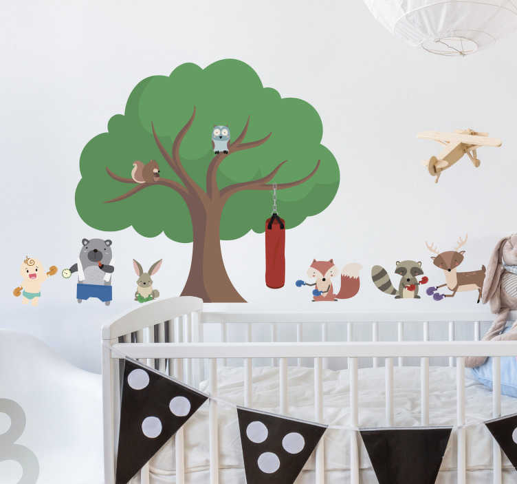 TenStickers. Boxing Forest Critters Home Wall Sticker. Bring your little boxing champion up right with this awesome cute boxing animals wall sticker. Free worldwide delivery available!