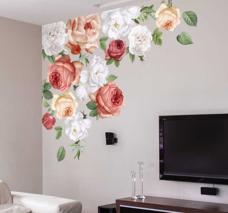 TenStickers. peonies Home Wall Sticker. Beautiful peonies wall stickers for the bedroom or the living room. This wall sticker peonies design is suitable for a calm and cheerful home.