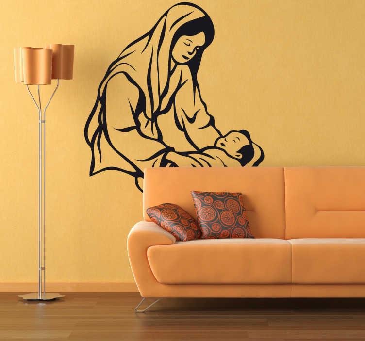 TenStickers. Sticker decorativo Bambino Gesù 1. Adesivo decorativo religioso per decorare il tuo soggiorno a natale. Immagine di Maria che culla il Bambino Gesù nel portale di Belen.