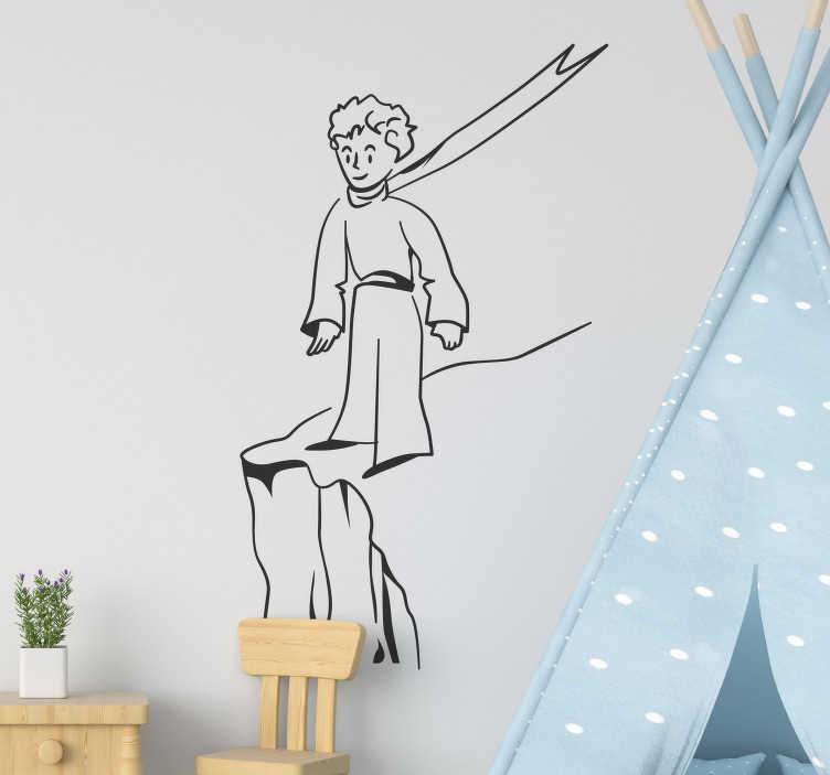 """TenStickers. Autocolantes com desenhos Menino na montanha. Vinil autocolante decorativo de ilustrações para quarto infantil alusivo ao famoso livro """"O Principezinho"""" perfeito para uma decoração original!"""