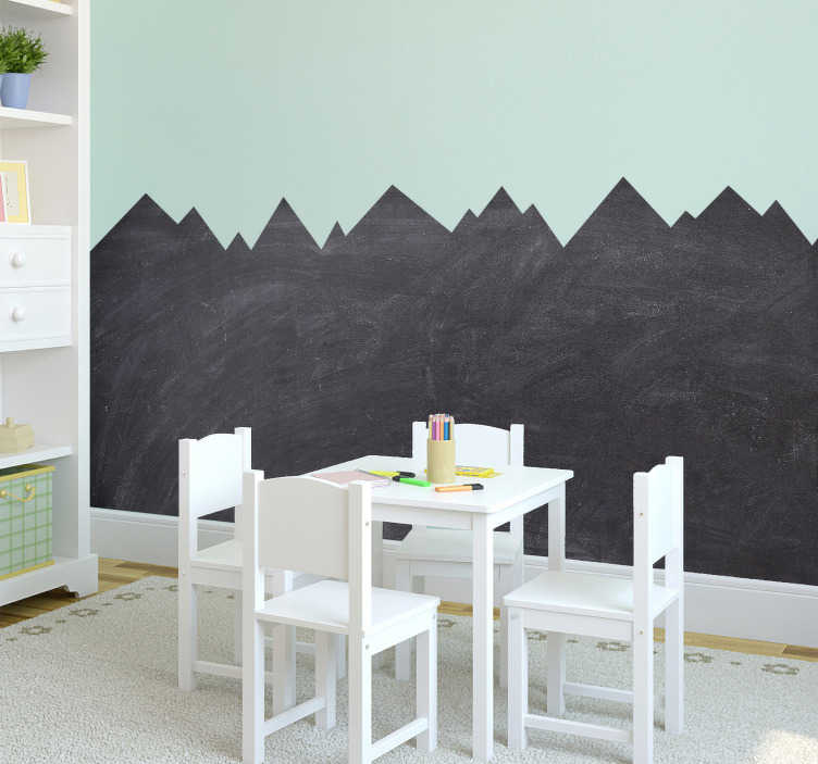 TenStickers. chalkboard mountain shape blackboard sticker. A nice chalkboard sticker for your children's room. Decorate your boring rooms and walls with our fun chalkboard mountain stickers!