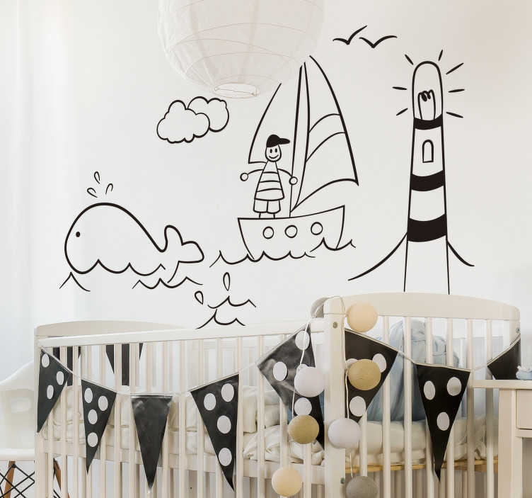 TenStickers. child drawing beach  nautical wall sticker. A nice children's beach and sea drawing sticker for the wall! A super nice idea to decorate your wall this drawing kids room sticker!
