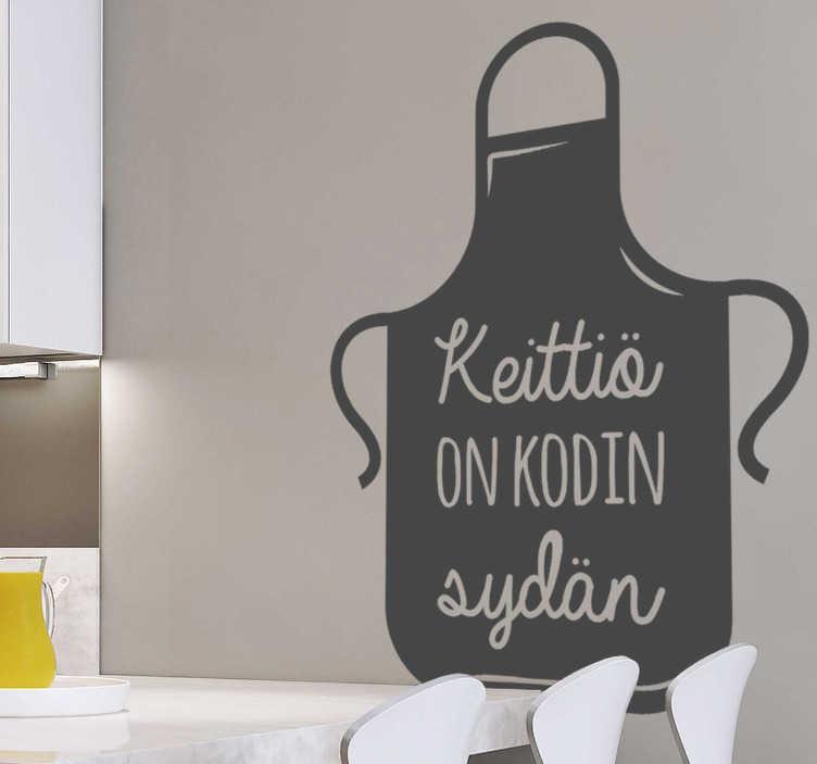 """Tenstickers. Kodin kodin tekstiseinän tarra. Tämä typografinen seinäsiili edustaa keittiön kalusteita, joissa on sisäpuolella oleva lause """"kodin sydän"""" kaikille, jotka haluavat kokata muille!"""