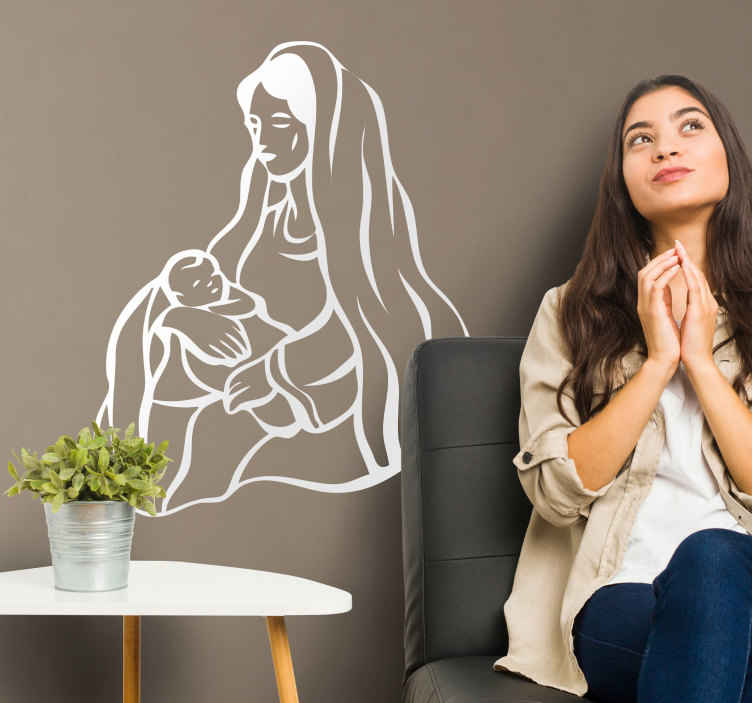 TenStickers. Virgin Mary & Baby Jesus Wall Sticker. A brilliant illustration of Mary watching over baby Jesus. A lovely Christian wall art decal to decorate your home during the Christmas period.