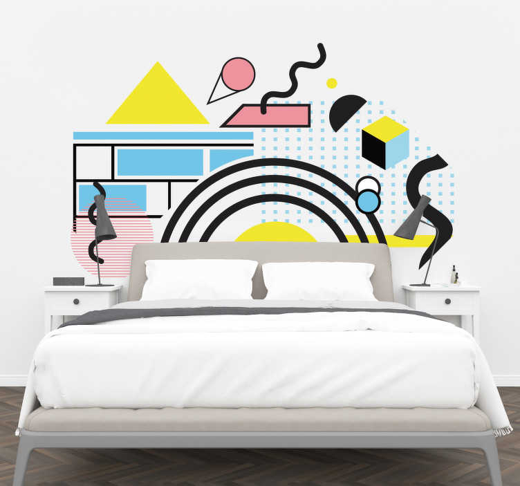 TenStickers. Memphis style headboard headboard wall sticker. Memphis style headboard wall sticker with the design of an original abstract art  to decorate the bedroom space. It can be chosen in any size.