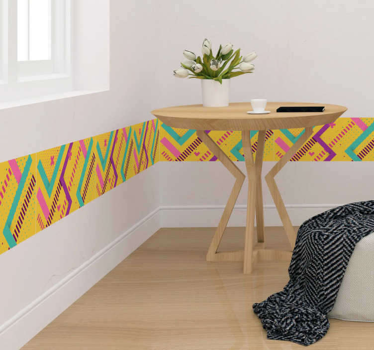 TenStickers. Memphis style border border sticker. Decorative self adhesive boarder wall sticker with the design of an abstract art in Memphis style. Easy to apply on flat surface.