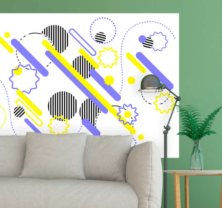 TenStickers. Muurstickers abstract memphis design. Leuke memphis design muurstickers voor een kunstzinnige huis. Mooie memphis art stickers voor uw huis! Fleur je huis op leuke memhpis art decoratie.